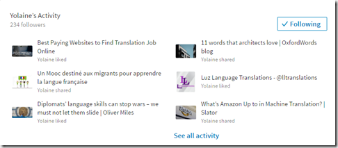Yolaine LinkedIn activity