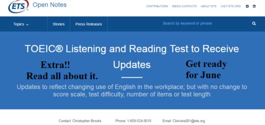 TOEIC test updated in June 2018