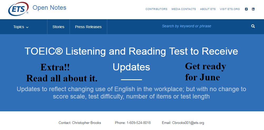 TOEIC Test Updated in June: Teachers Get Ready